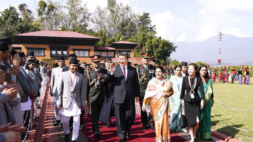 习近平离开印度和尼泊尔回到排列5北京